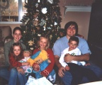 Christmas 2003 - Carol Ruth's five grandchildren - first row:  Anna (age 5), Sarah (age 7), and Seth (age 4) Whitlock; back row: